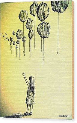 Knowledge Without Wisdom I Wood Print by Paulo Zerbato