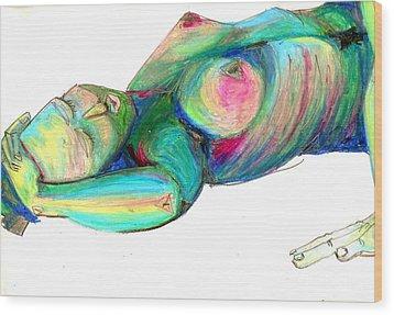 Koerperstudie3 Wood Print by Roswitha Schmuecker