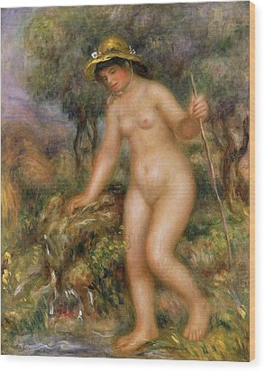 La Source Or Gabrielle Nue Wood Print by Pierre Auguste Renoir