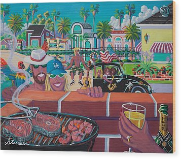 Labor Day Venice Style Wood Print by Frank Strasser