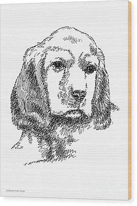 Labrador-portrait-drawing Wood Print by Gordon Punt