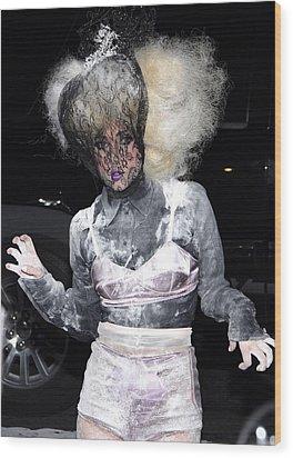 Lady Gaga Wearing A Marc Jacobs Bra Wood Print by Everett