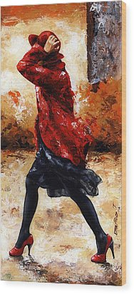 Lady In Red 28 Wood Print by Emerico Imre Toth