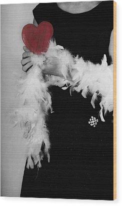 Lady With Heart Wood Print by Joana Kruse