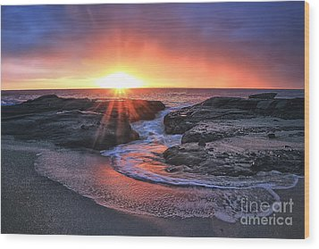Laguna Beach Sunset Wood Print by Elena Northroup