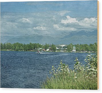Lake Hood Anchorage Alaska Wood Print by Kim Hojnacki