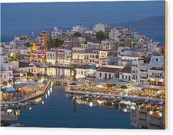 Lake Vouismeni Agios Nikolaos, Crete Wood Print by Axiom Photographic