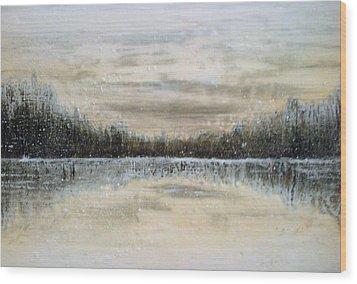 Lake Wylie Snow Wood Print by Jackie Dunford