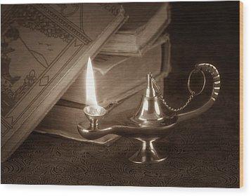 Lamp Of Learning Wood Print by Tom Mc Nemar