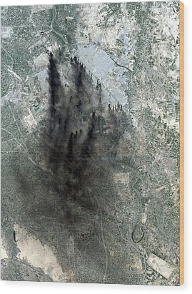 Landsat Image Of Baghdad Showing Dark Wood Print by Everett