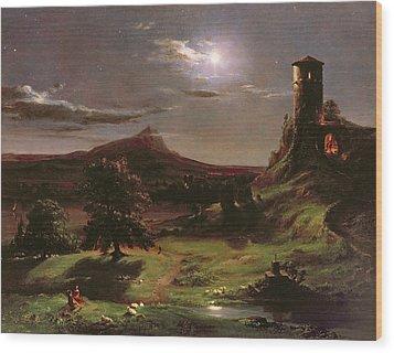 Landscape - Moonlight Wood Print by Thomas Cole
