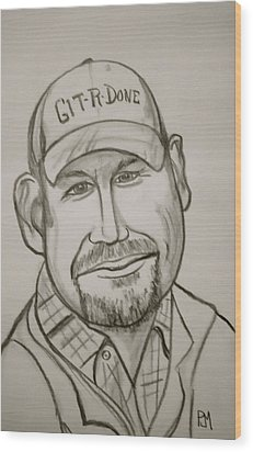 Larry The Cable Guy Wood Print by Pete Maier