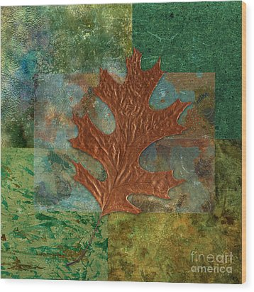 Leaf Life 01 - Green 01b2 Wood Print by Variance Collections