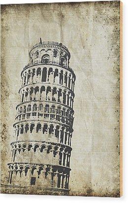 Leaning Tower Of Pisa On Old Paper Wood Print by Setsiri Silapasuwanchai