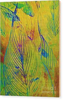 Leaves In The Jungle Wood Print by Judi Bagwell
