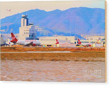Leaving On A Jet Plane . 7d12335 Wood Print by Wingsdomain Art and Photography