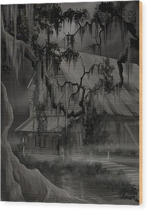Legend Of The Old House In The Swamp Wood Print by James Christopher Hill