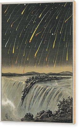 Leonid Meteor Shower Of 1833, Artwork Wood Print by Detlev Van Ravenswaay