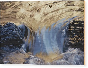 Light Reflected On Water Flowing Wood Print by Jason Edwards