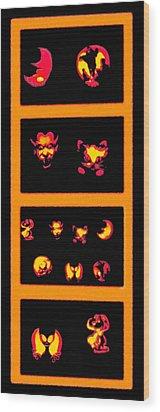 Lighted Jack-o-lanterns Tetraptych Wood Print by Steve Ohlsen