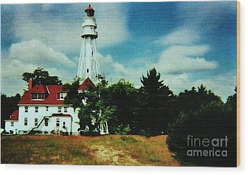Lighthouse Off Lake Michigan Wood Print by Marsha Heiken