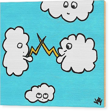 Lightning Fight Wood Print by Jera Sky