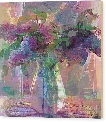 Lilac Cuttings Glass Vase Wood Print by David Lloyd Glover