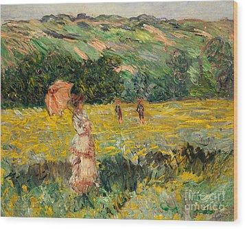 Limetz Meadow Wood Print by Claude Monet