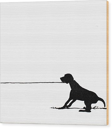 Little Dogs Doing Tricks On Little Canvas Wood Print by Cindy D Chinn