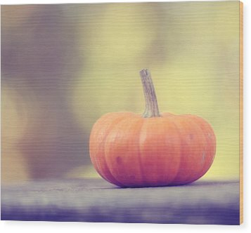 Little Pumpkin Wood Print by Amy Tyler