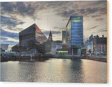 Liverpool After Dark Wood Print by Barry R Jones Jr
