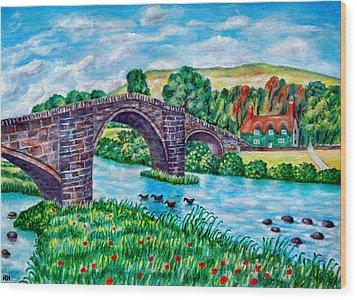 Llanrwst Bridge - Wales Wood Print by Ronald Haber