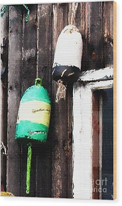 Lobster Buoys Wood Print by Betty LaRue