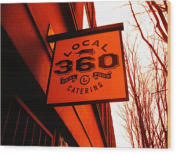 Local 360 In Orange Wood Print by Kym Backland