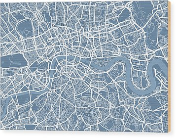 London Map Art Steel Blue Wood Print by Michael Tompsett