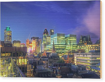 London Skyline At Night Wood Print by Gregory Warran