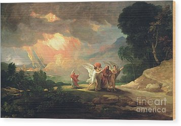 Lot Fleeing From Sodom Wood Print by Benjamin West