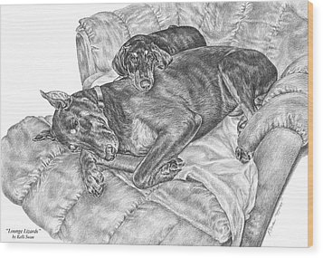 Lounge Lizards - Doberman Pinscher Dog Art Print Wood Print by Kelli Swan