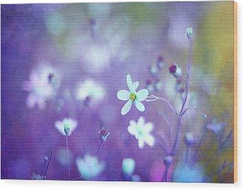 Lovestruck In Purple Wood Print by Amy Tyler