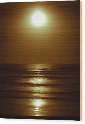 Lunar Tides I Wood Print by DigiArt Diaries by Vicky B Fuller