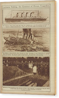 Lusitania Sinking The Greatest Of Ocean Wood Print by Everett