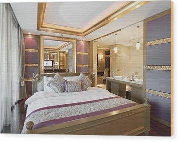 Luxury Bedroom Wood Print by Setsiri Silapasuwanchai