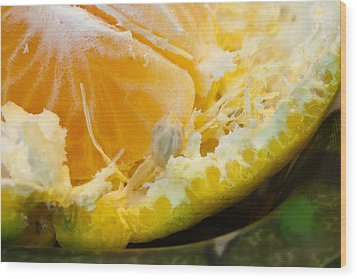 Macro Photo Of Orange Peel And Pips And Main Fleshy Part Wood Print by Ashish Agarwal
