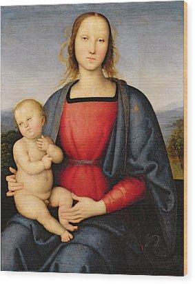 Madonna And Child Wood Print by Pietro Perugino