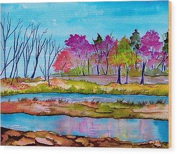 Magenta Woods Wood Print by Brenda Owen