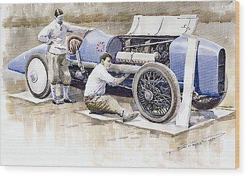 Malcolm Campbell Sunbeam Bluebird 1924 Wood Print by Yuriy  Shevchuk