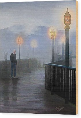Man In A Fog Wood Print by Suni Roveto