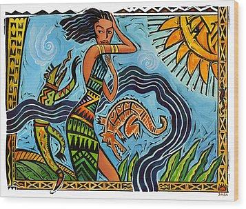 Maori Woman Dance Wood Print by Shawn Shea