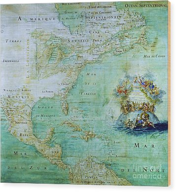 Map Of America  Wood Print by Pg Reproductions