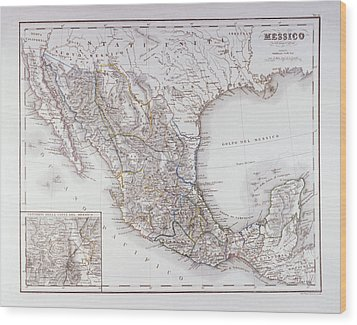 Map Of Mexico And Outlines Of Mexico City Wood Print by Fototeca Storica Nazionale